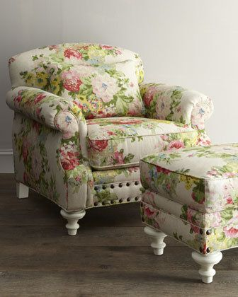 love this chair, ottoman and the fabric! | Cottage chic | Pinterest ...