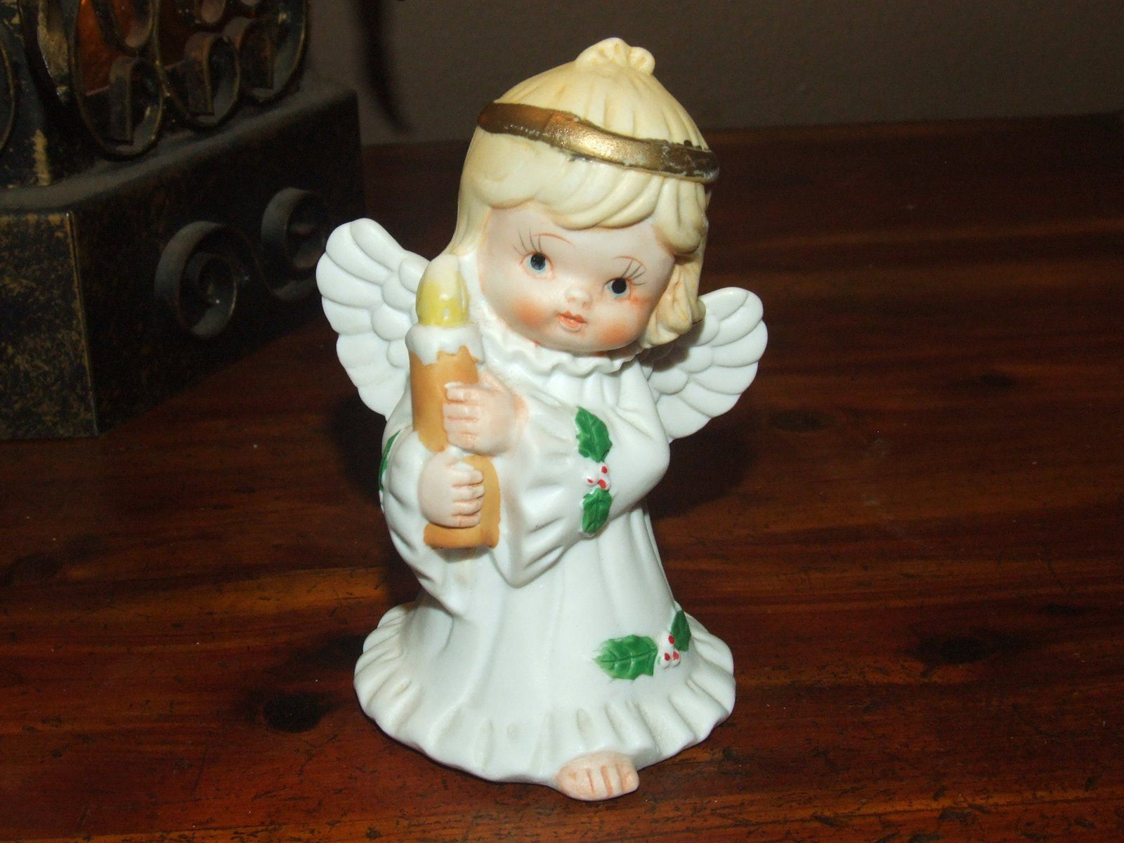 Vintage 70 S Christmas Angel Holding Candle Porcelain Etsy Vintage Christmas Decorations Christmas Angels Holding Candle