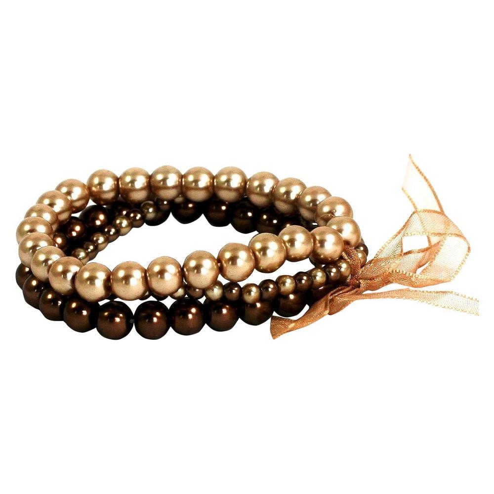 Women's Zirconite 3pc Glass Pearl Stretch Bracelet,