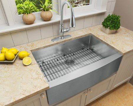 Enbol As3322 33 Inch Farmhouse Apron Front Single Bowl 16 Gauge Stainless Steel Kitchen Sink Amazon C Sinks For Sale Vintage Farmhouse Sink Farmhouse Sink