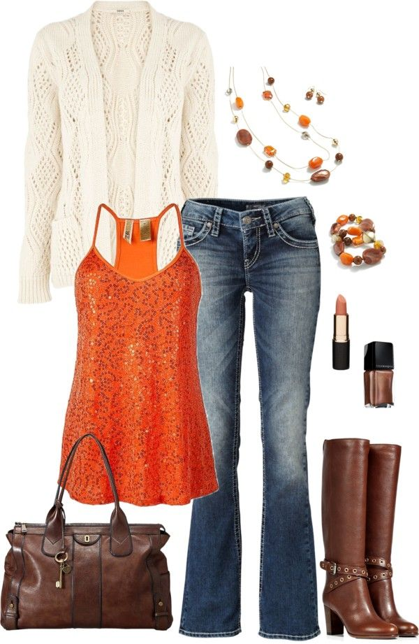 by masilly1 on Polyvore No sparkle on the orange top