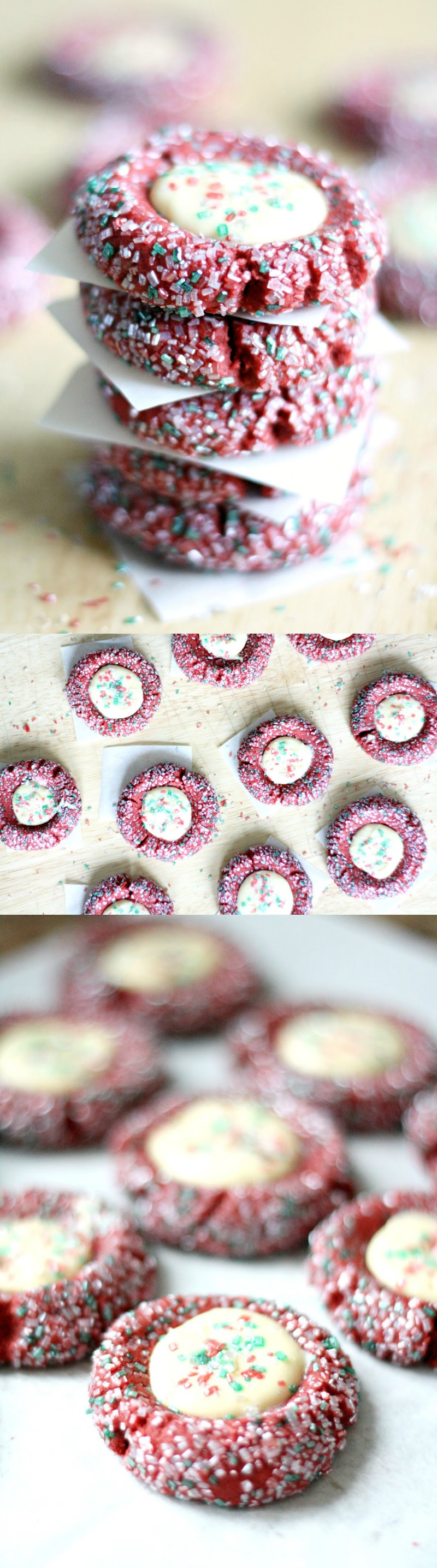 These red velvet thumbprint cookies are so rich and fluffy with the perfect amount of creamy cheesecake filling. They are perfectly festive and delicious!