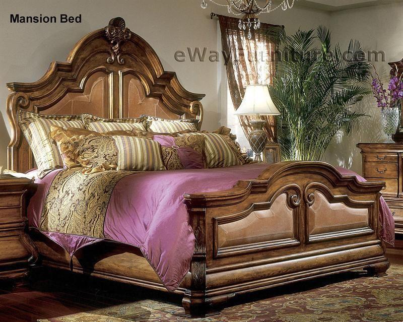 AICO Tuscano 5PC Bedroom Set King Leather Bed, Dresser, Mirror, 2 ...