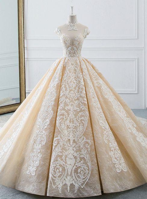 Luxuriöses Champagner Ballkleid Tüll Spitze Applikationen Rückenfreies High Neck Brautkleid