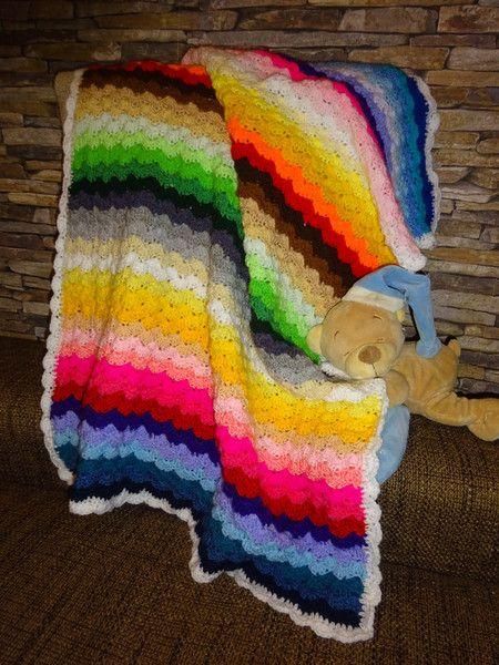 Kunterbunte Babydecke Regenbogen Gehäkelt Wolle Von Babys