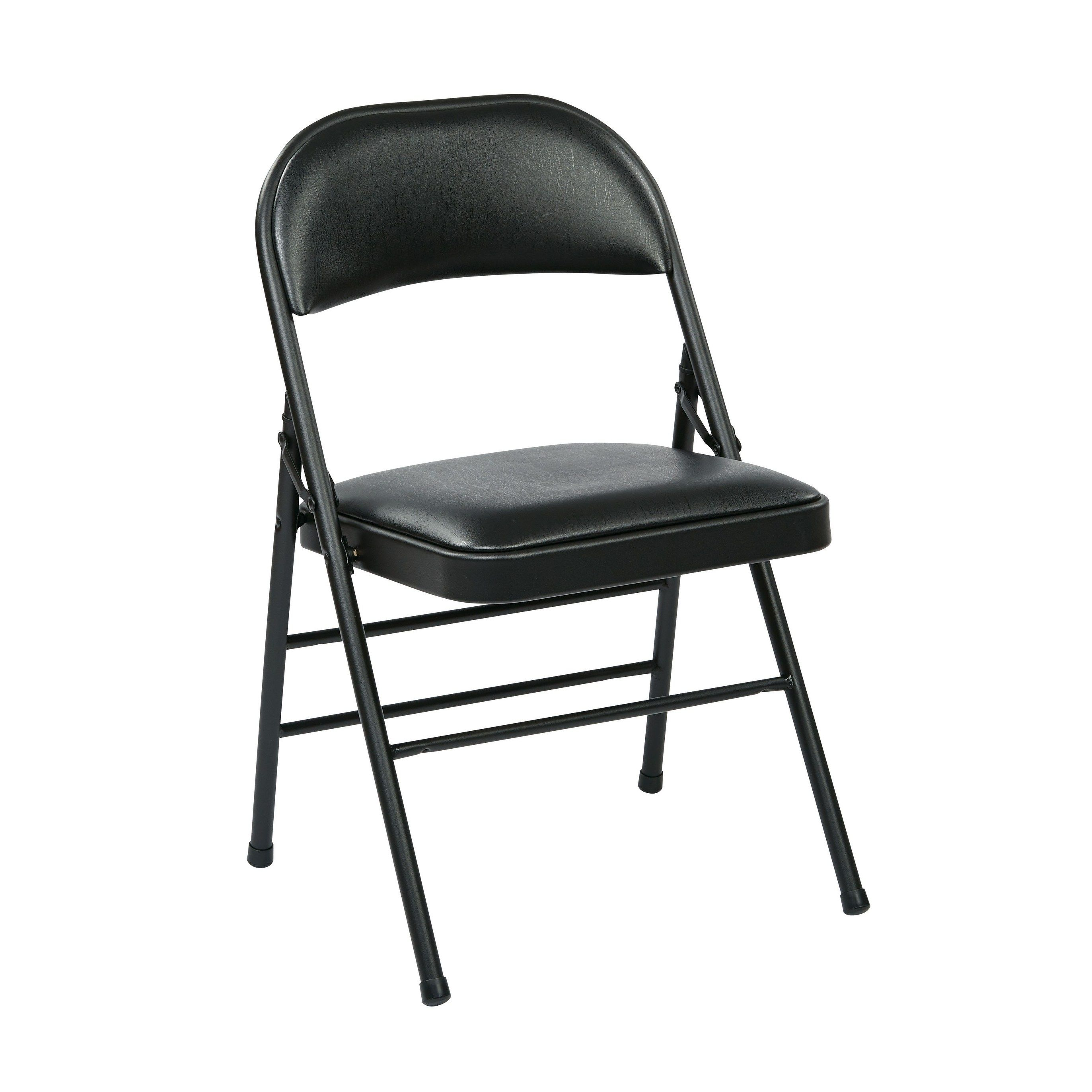 Pleasant Work Smart Folding Chair With Vinyl Seat And Back Black Pabps2019 Chair Design Images Pabps2019Com