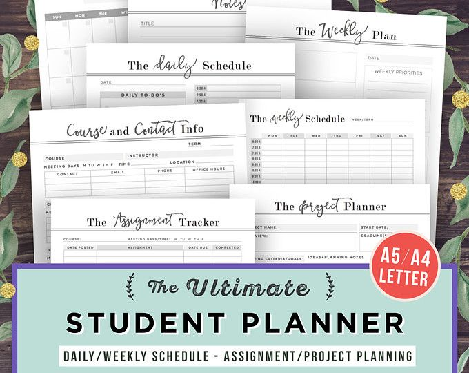College Student Planner Printable Bundle, 2018 Project Planner