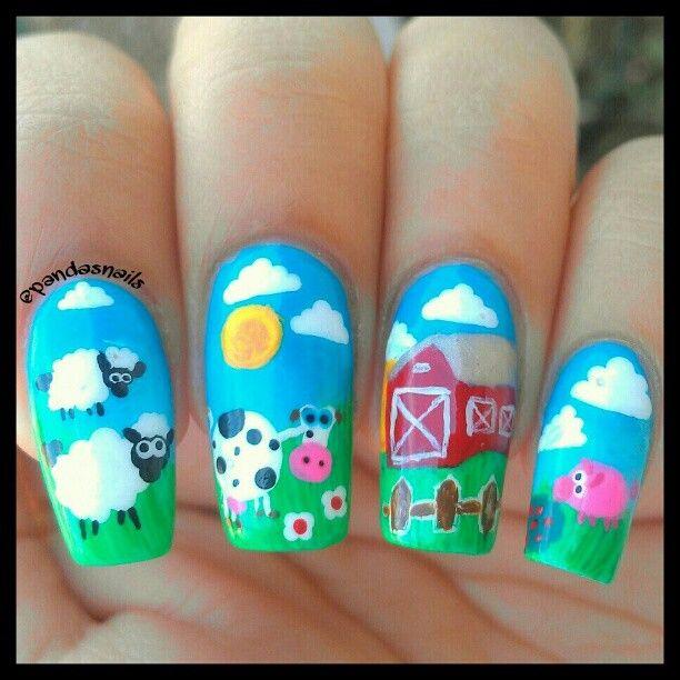 Farm Nail Nails Nailart Animal Nail Designs Farm Animal Nails Animal Nails