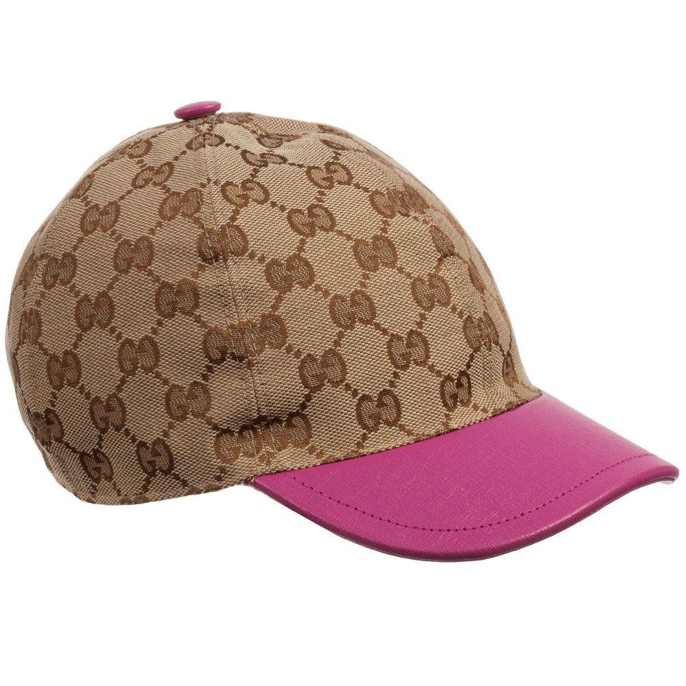 23f29ed67f2 Beige  GG  Baseball Cap with Pink Brim