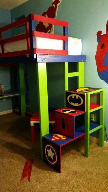 superhero bunk bed with latched rail desk steps and slide
