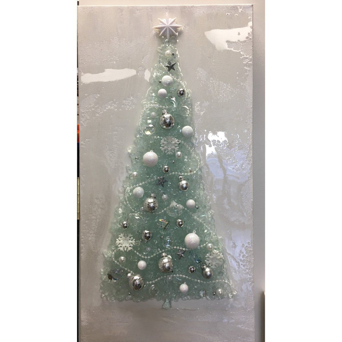 Christmas Tree White Mixed Media Using Crushed Glass Broken Glass Resin And Other Glass Elements Ha Christmas Tree Painting Mermaid Wall Art Christmas Tree