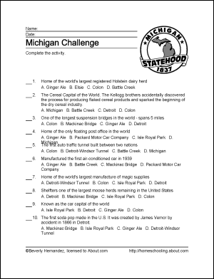 coloring pages for kids and michigan | Learn about Michigan with Free Printables! | Geography ...