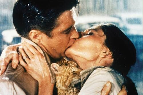 Image via We Heart It https://weheartit.com/entry/177468957 #actor #actress #audreyhepburn #BreakfastatTiffany's #cat #couple #GeorgePeppard #hollygolightly #kiss #love #vintage #paulvarjak