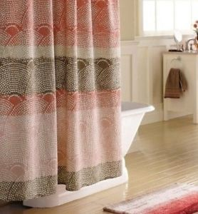 New Target Home Threshold Scallop Dot Warm Fabric Shower Curtain Coral Brown