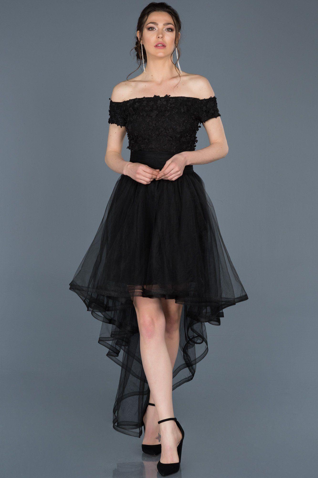 Onu Kisa Arkasi Uzun Siyah Mezuniyet Elbisesi Abo022 Elbiseler Siyah Kisa Elbise Elbise