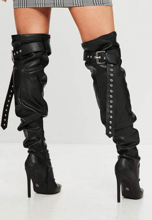 8201ef88cab2 Missguided Black Belt Buckle Thigh High Boots | Products in 2019 ...
