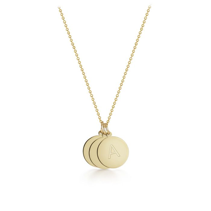 3 Initial Disc Charm Necklace In 14k Gold For Mom