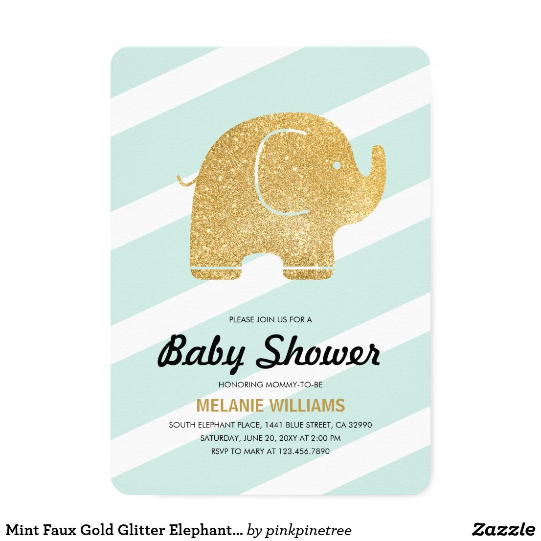 Mint Faux Gold Glitter Elephant Baby Shower Invite Customize this ...