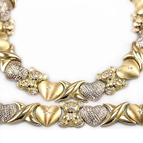 Gold Platinum Silver And Gold Plated Collections Xoxo Necklace Bear Necklace Gold Platinum