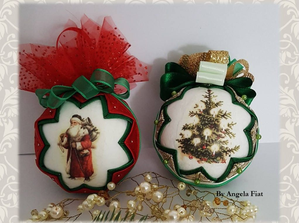 Christmas green ornament/ Green\u0026gold quilted bauble