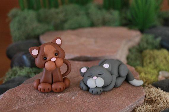La arcilla del polímero del gato - gato miniatura - Mini arcilla gato - Jardín de hadas de accesorios - Terrario accesorios - Escultura Cat - Jardín Decoración