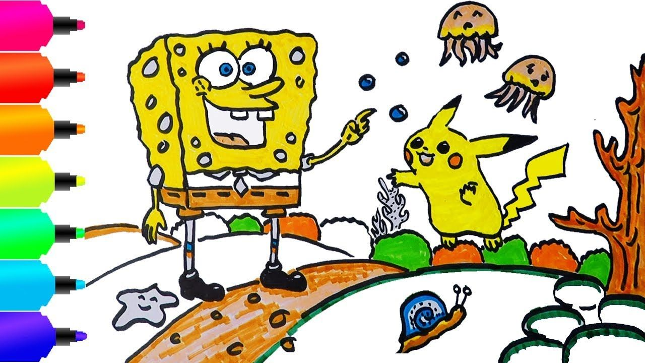 Learn Drawing And Coloring How To Draw Spongebob And Pikachu Tik Tok