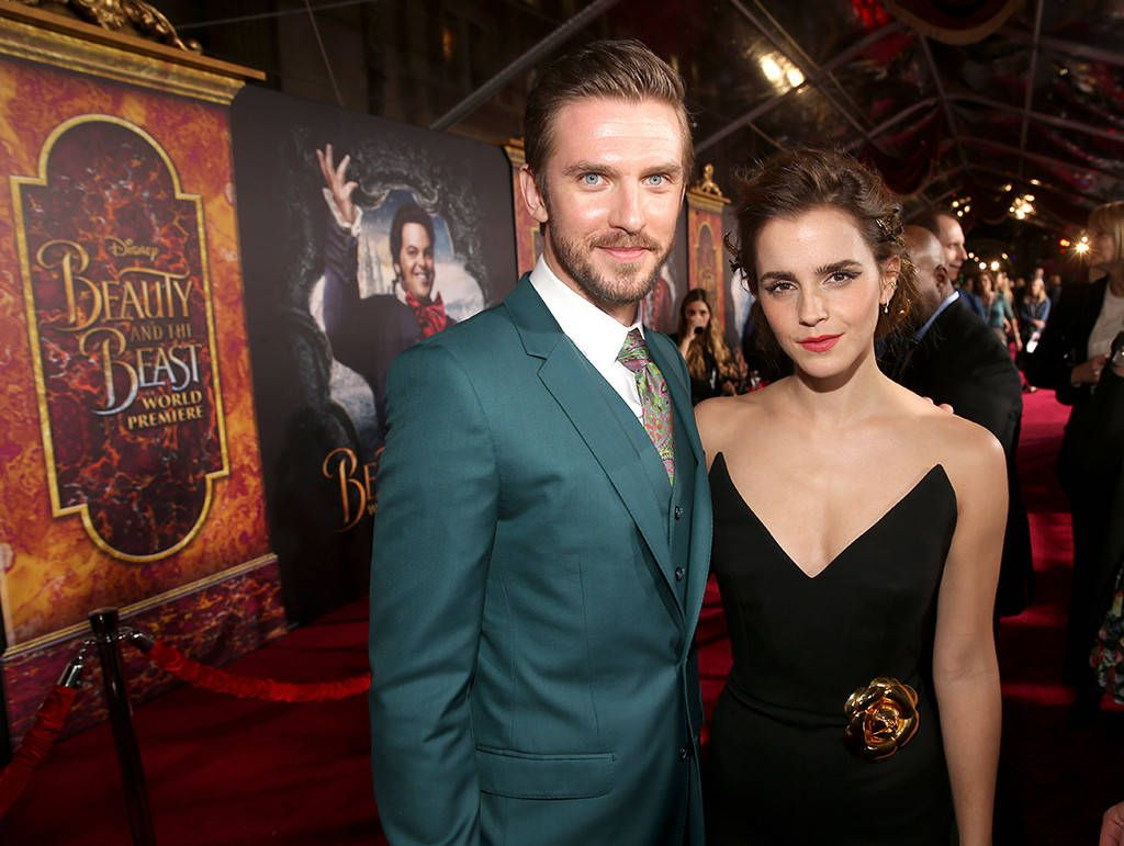 Disney Royalty from Beauty and the Beast Premieres Around the World Dan Stevens and Emma Watson (in Oscar de la Renta) share a moment at the El Capitan Theatre in Hollywood.