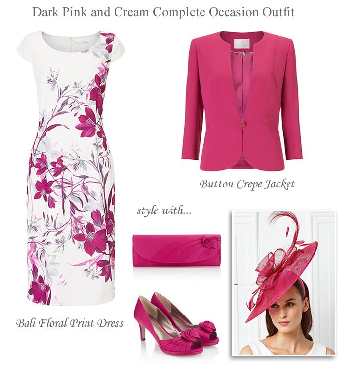 Jacques Vert Pink And Cream Fl Shift Dresatching Jacket Shoes Hat Fascinator