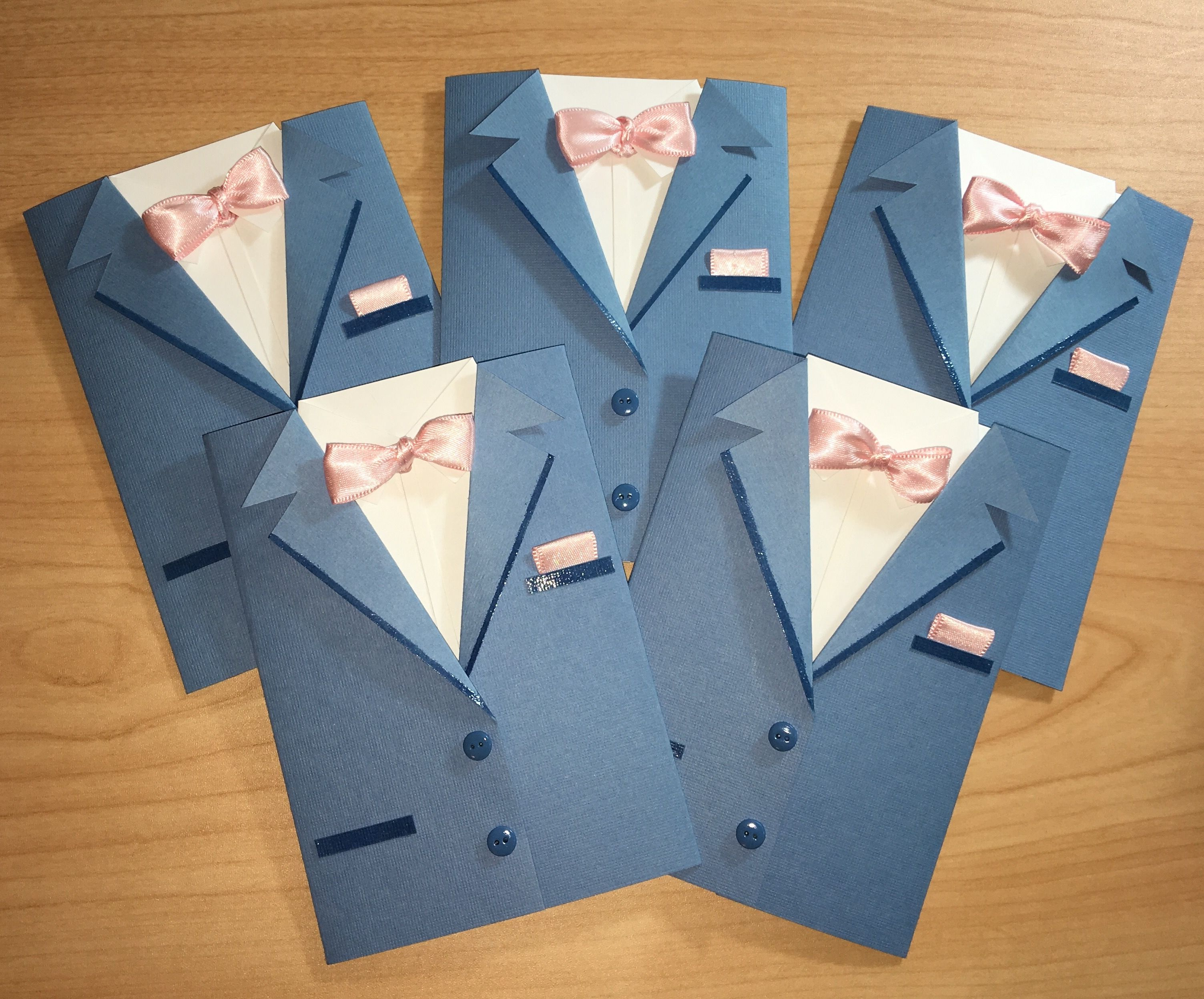 Handmade Custom Groomsman Suit Invites A2 Size Greeting Cards Sky