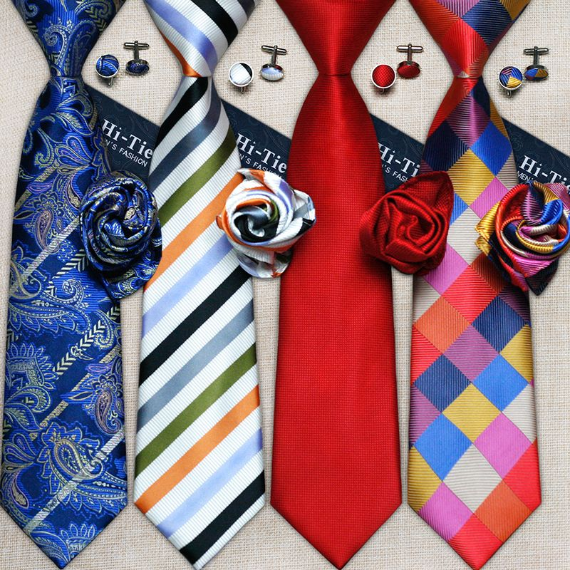 Hi-Tie Mens White Striped Solid Woven Silk Necktie Tie Hanky Cufflinks set