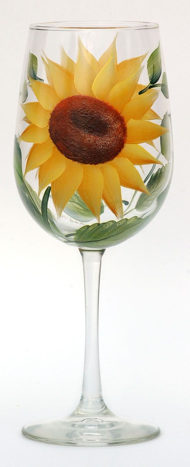 Yellow Sunflower Wine Glass Summer Spring Time Table Decor 15 ounces Hand Painted in the USA Sunflower Stemless Wine Glasses