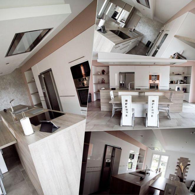 Idée relooking cuisine Modèle Arecas laque blanche brillante plan de - idee de plan de maison