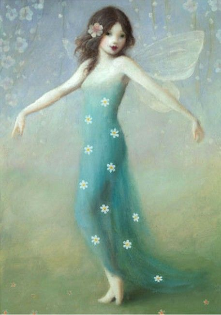 Stephen Mackey - Green fairy white flower dress (457x650)