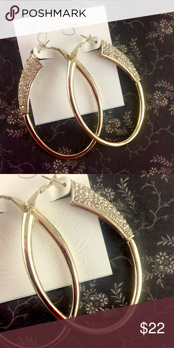Jessica Simpson Crystal Oval Gold Hoop Earrings NWT (With