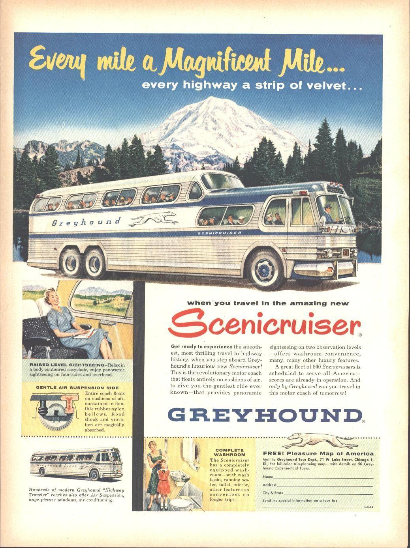 Advertising-print 1943 Greyhound Bus This Amazing America Original Color Ad