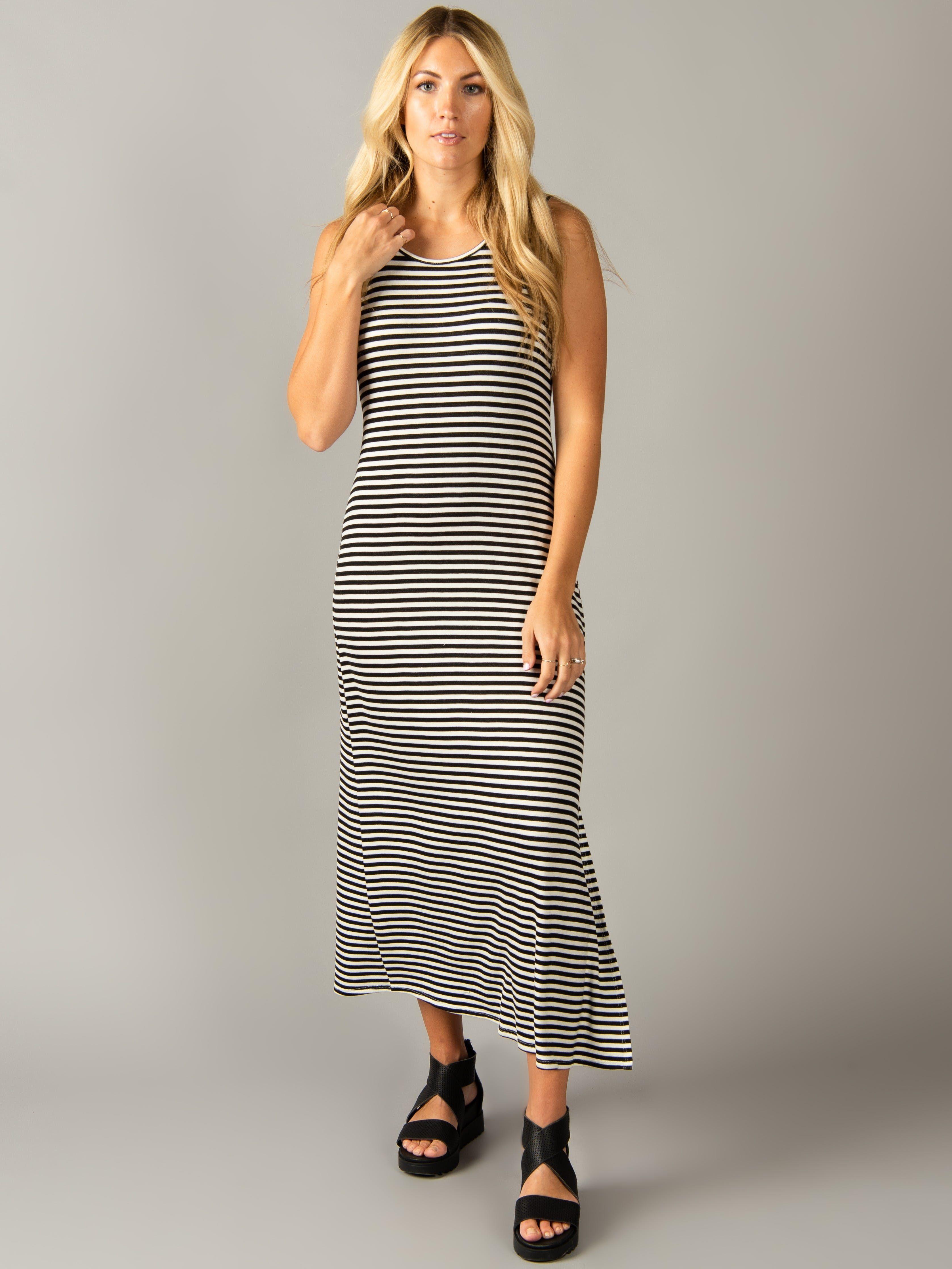 Under The Boardwalk Dress Ivory Black Stripe Comfy