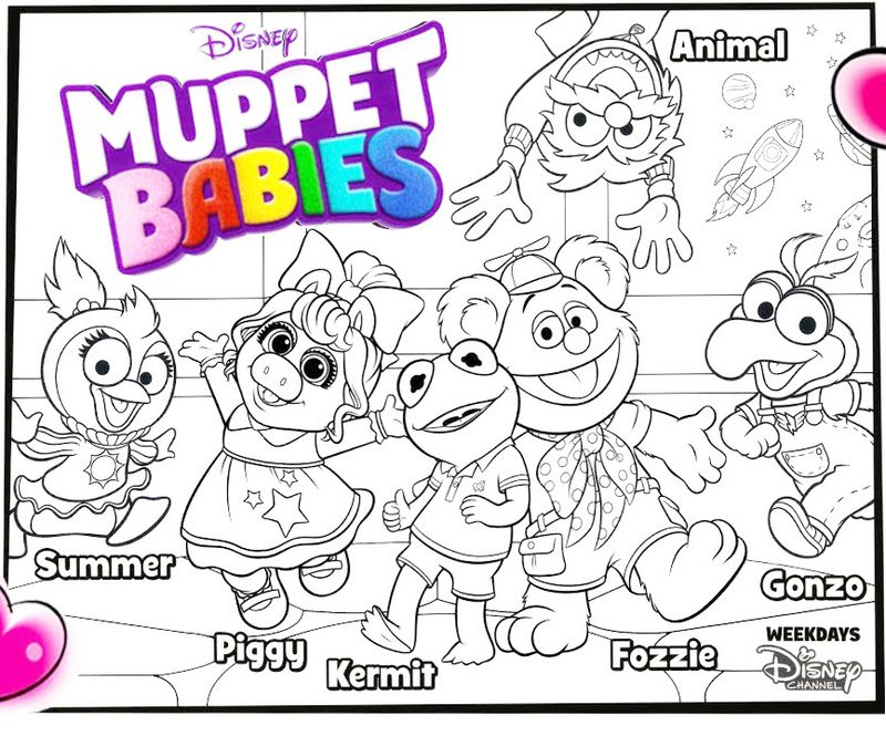 Muppet Babies Characters Coloring Sheet For Kids Baby Coloring Pages Muppet Babies Family Coloring Pages