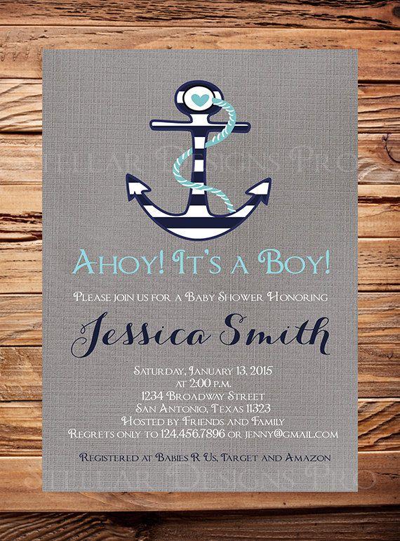 Nautical Baby Shower Invitation Boy Anchor By StellarDesignsPro
