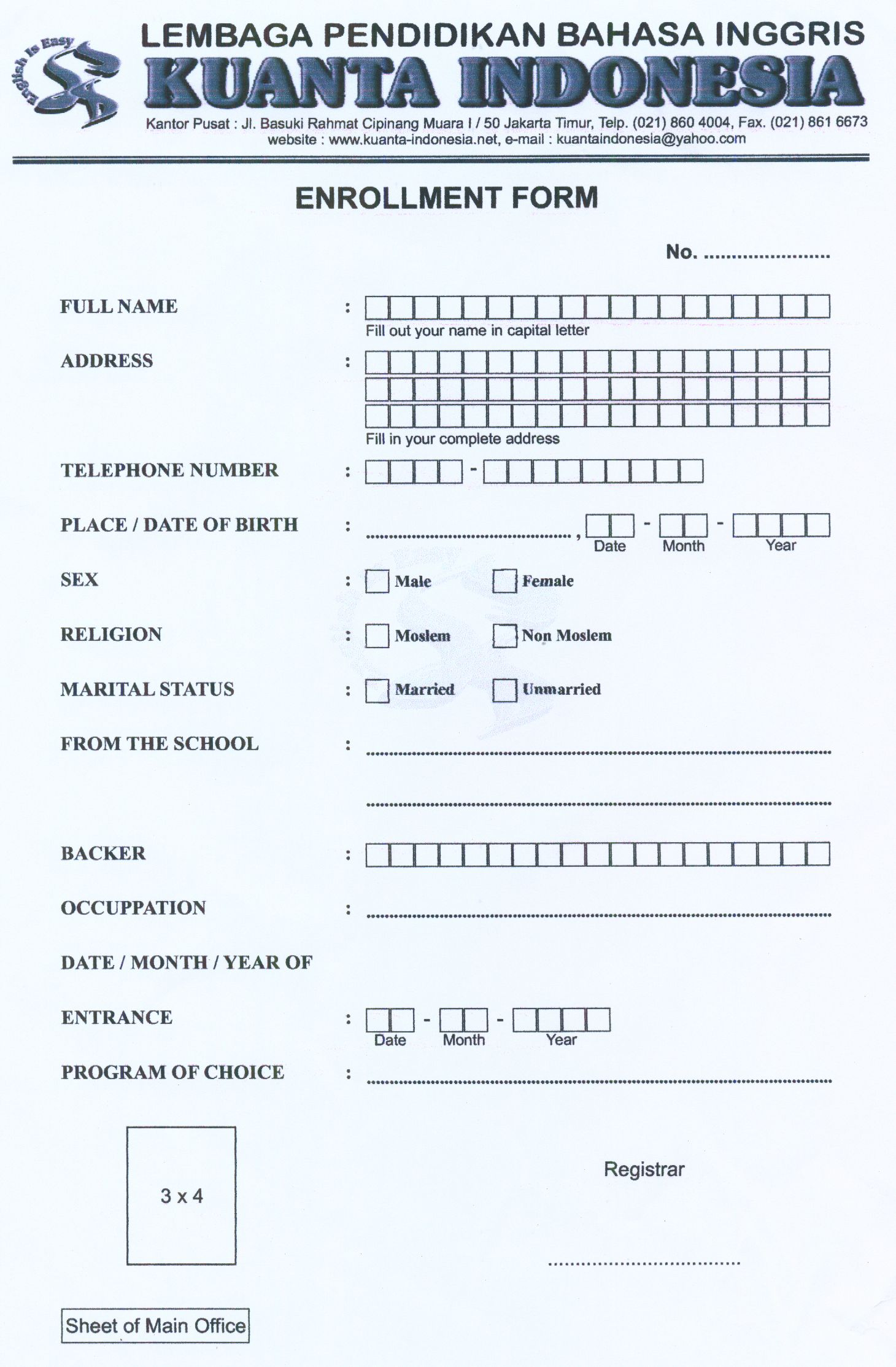 Formulir Dalam Bahasa Inggris : formulir, dalam, bahasa, inggris, FORMULIR, PENDAFTARAN, Kuantaindonesia's, Pendidikan,, Bahasa,, Bahasa, Inggris