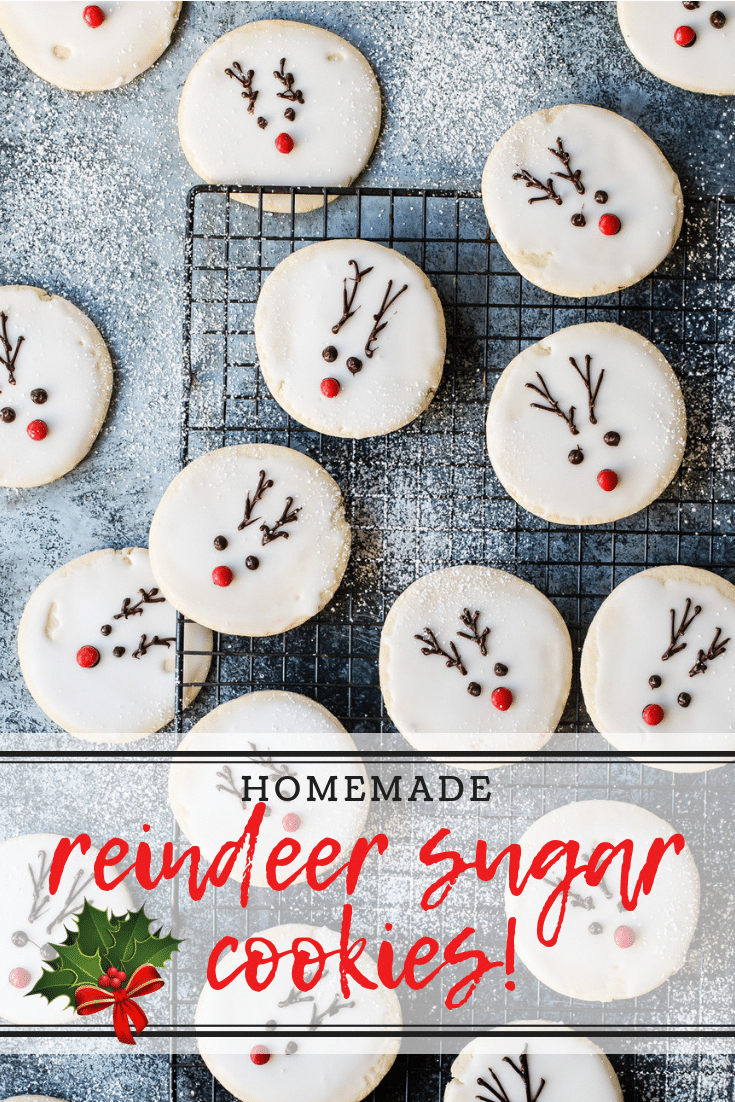 These reindeer cookies are so cute and are sure to be a hit with the kids! Make them for school Christmas parties or leave some out for Santa on Christmas Eve! #cookies #christmas #reindeer #sugarcookies #makechristmascookies