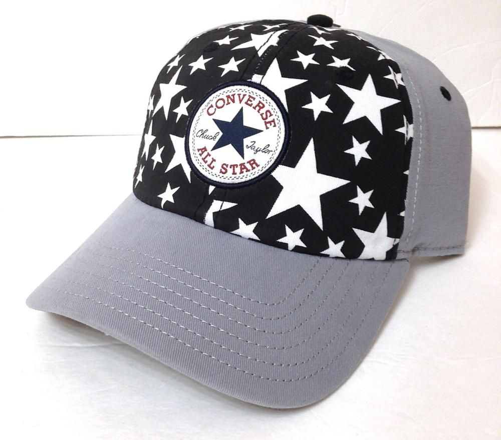 805aeab73 new CONVERSE ALL STAR CHUCK TAYLOR HAT Gray Black White Stars ...