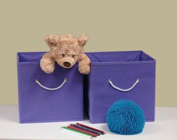 """RiverRidge Kids Two Piece Folding Storage Bin Set - Lavender (Lavender) (10""""H x 10.5""""W x 10.5""""D)"""