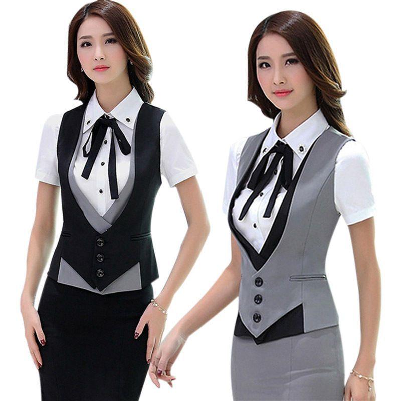 Women Formal Vest V-Neck Waistcoat Office Bank Uniform Slim Sleeveless Workwear