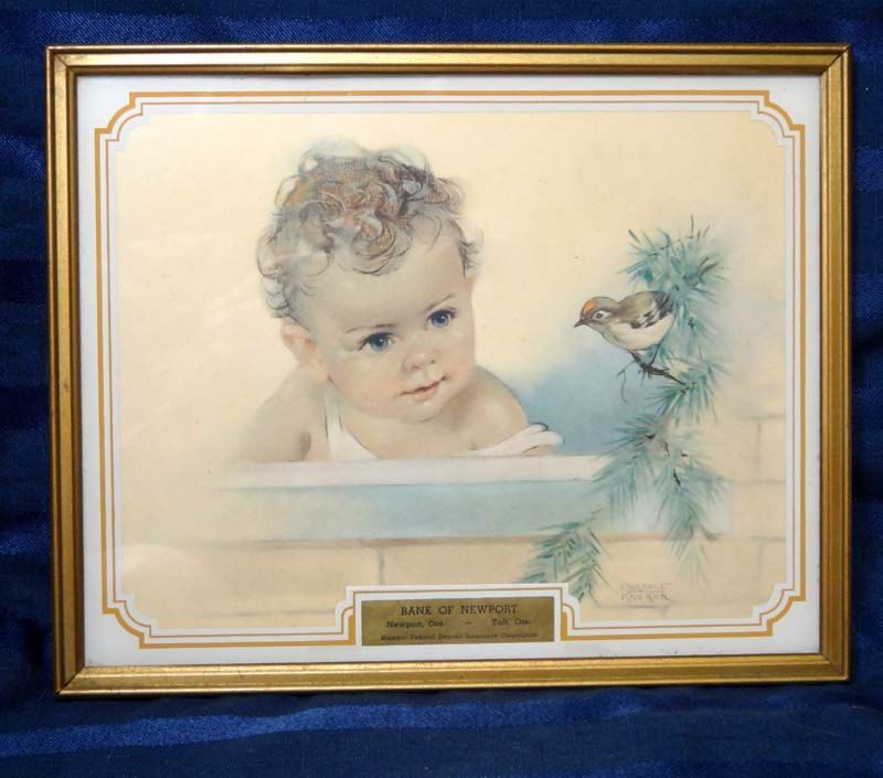 Vintage Baby Advertising Art/ Florence Kroger Child and Print/ Nursery Decor by CurioCabinet on Etsy