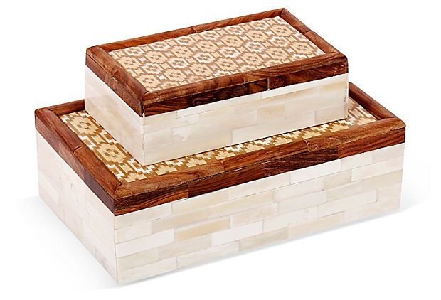 Asst Of 2 Istanbul Bone Boxes Brown Box Decorative Boxes Wood Projects