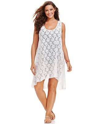 b2e4bb09737 Profile by Gottex Plus Size Lace High-Low Dress Cover Up - Plus Size  Swimwear - Plus Sizes - Macy s