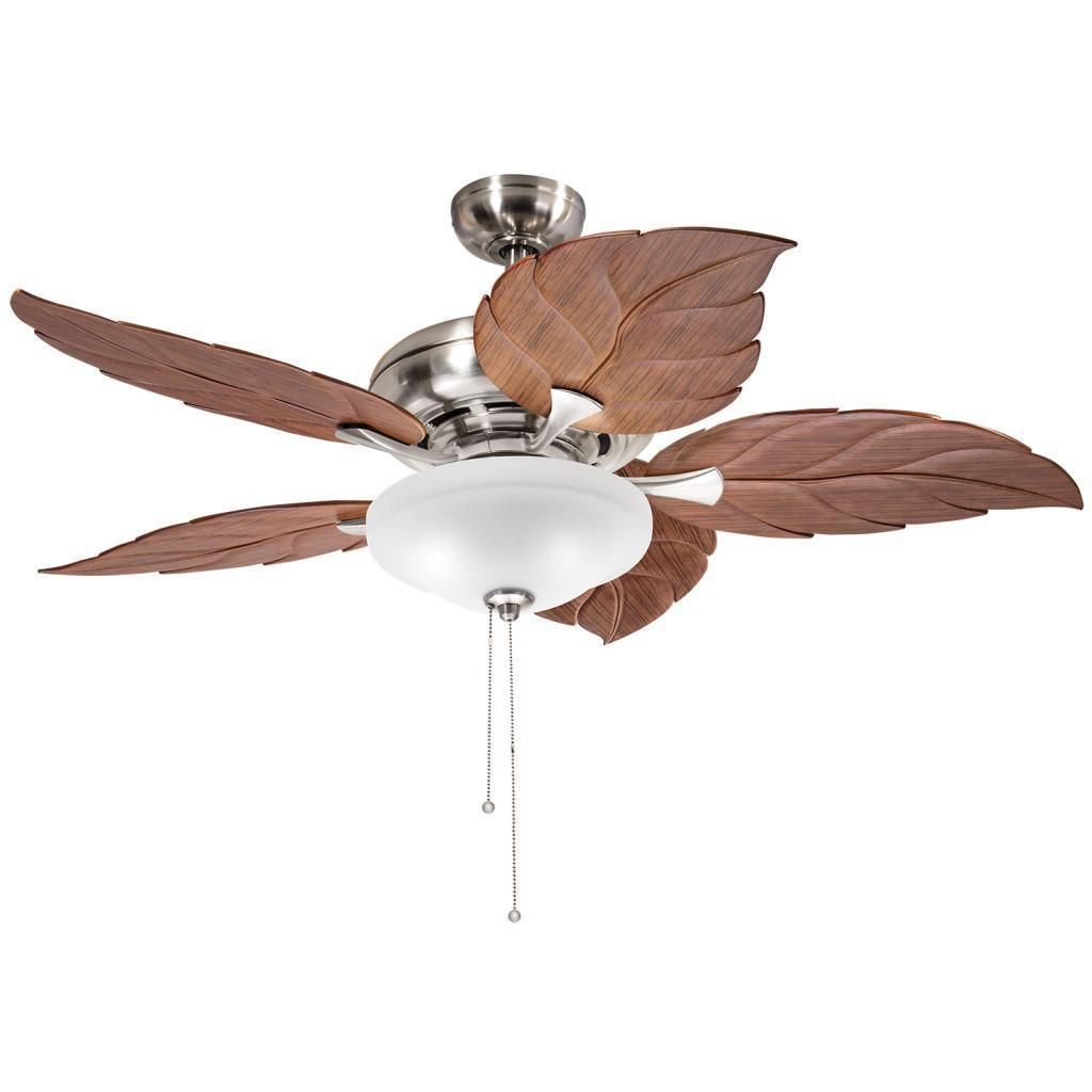White Tropical Ceiling Fans This 52 Inch Ceiling Fan Features A Brushed Nickel Finish