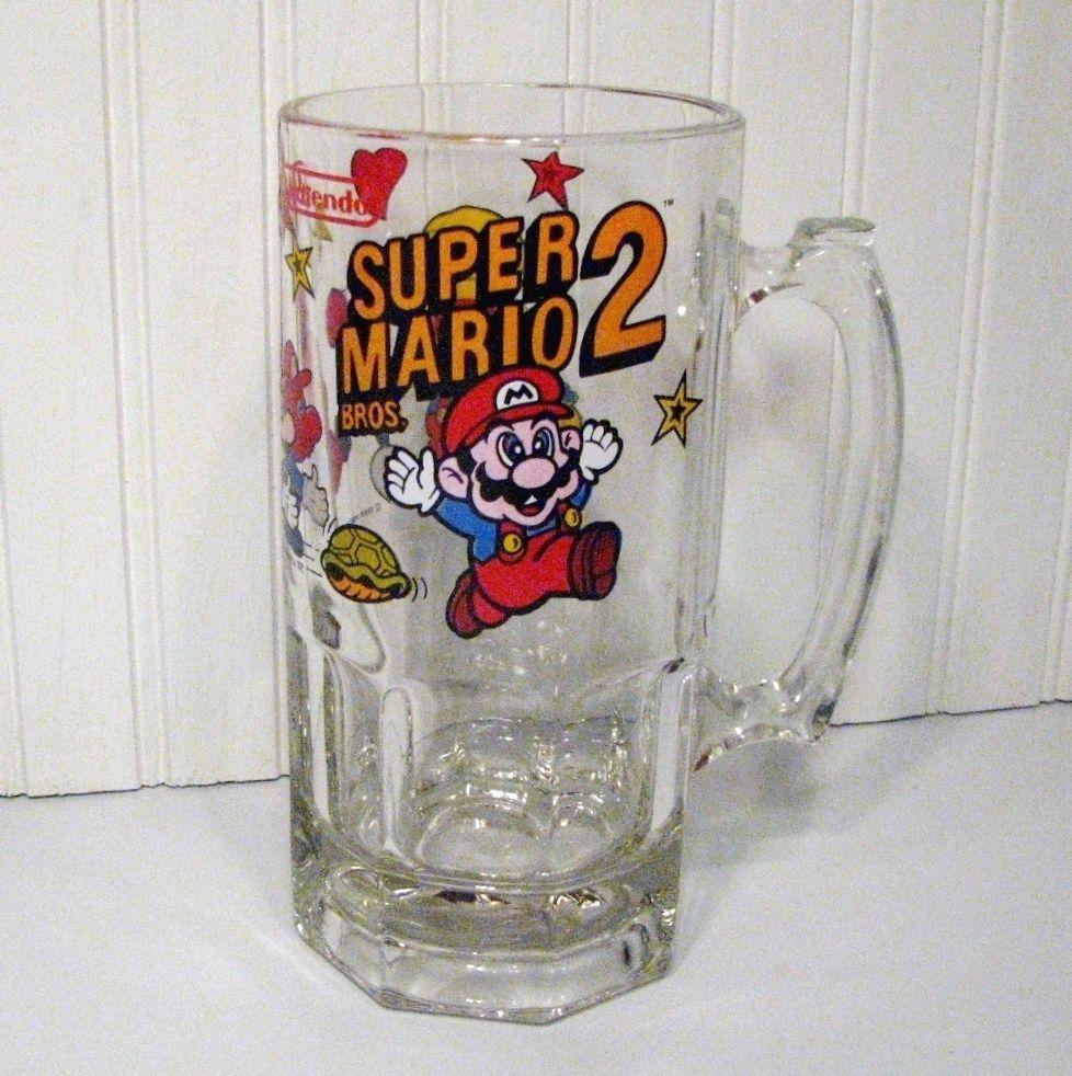 Super Mario Bros 2 Beer Mug Stein Glass 1989 Video Game Collectible ...