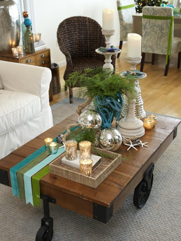 Coastal And Cottage Style Christmas Decorations Coffee Table Centerpieces Decor Coffee Table