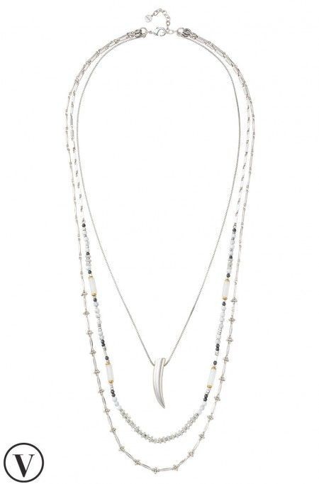 The newest Tiburon Necklace features silver layering necklaces with a striking silver shark tooth detail. Shop Zuni necklaces at Stella & Dot.